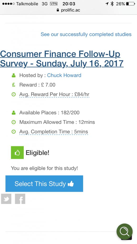 prolific academic £84 per hour