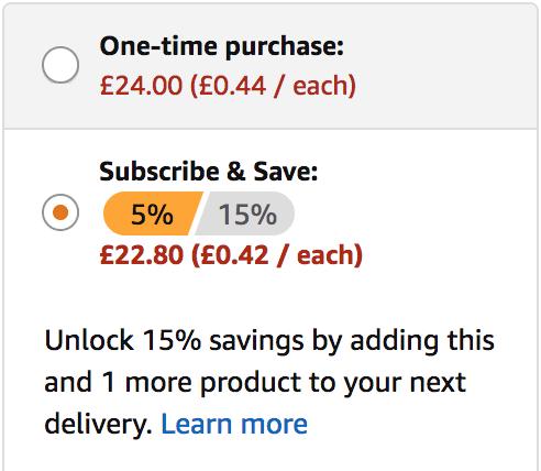 Subscribe and save savings