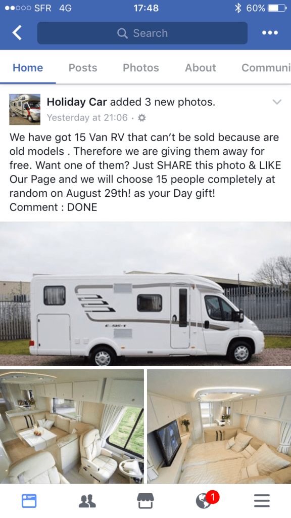 Picture of a Facebook scam competition