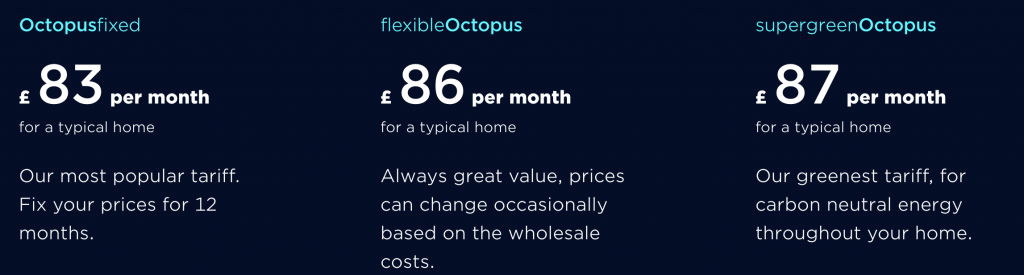 Octopus contract prices