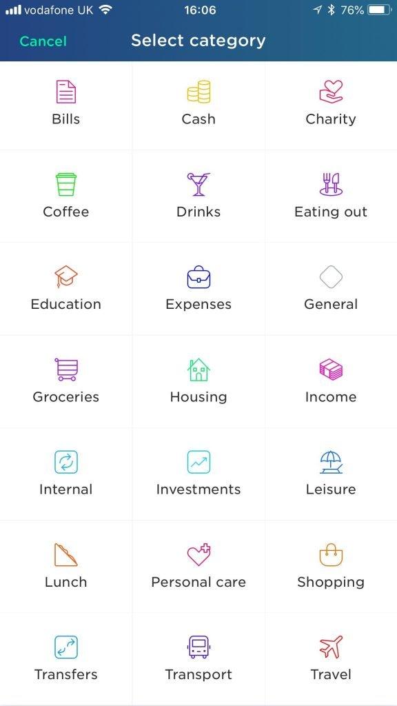 yolt list of categories