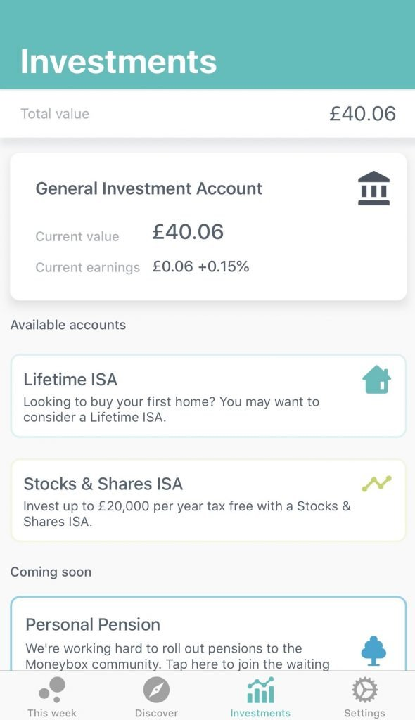 Investments with moneybox
