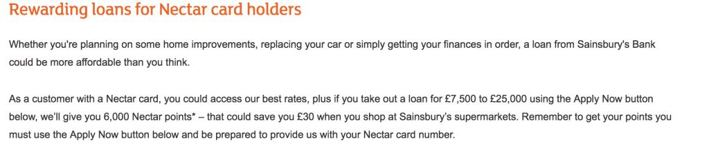 bonus nectar points from a Sainsbury's loan