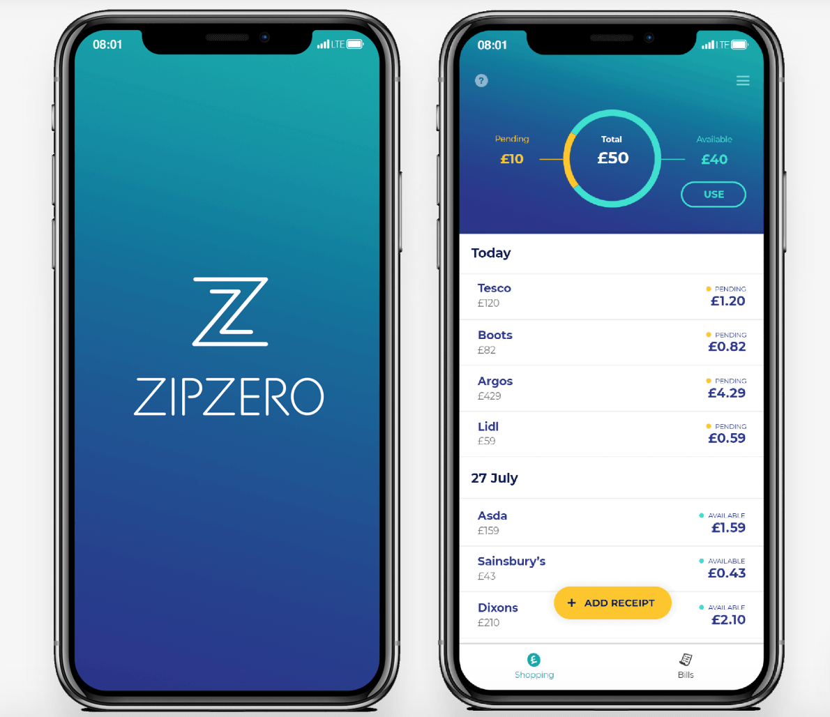 ZipZero app screenshot