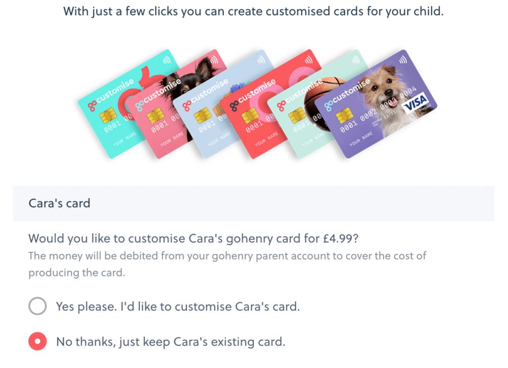 customise gohenry cards