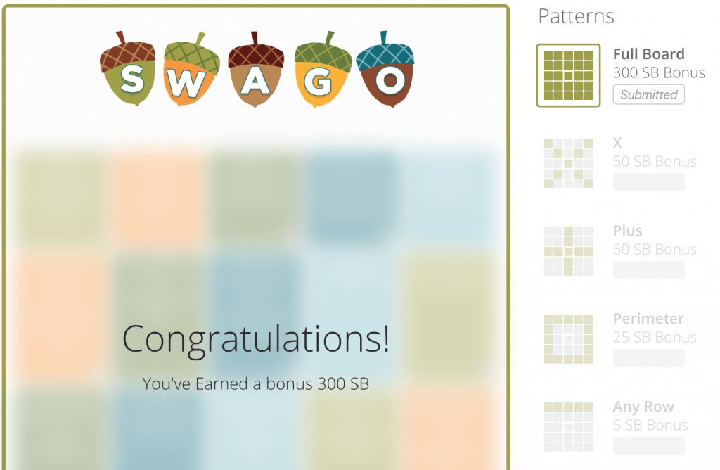 swago board earning extra points