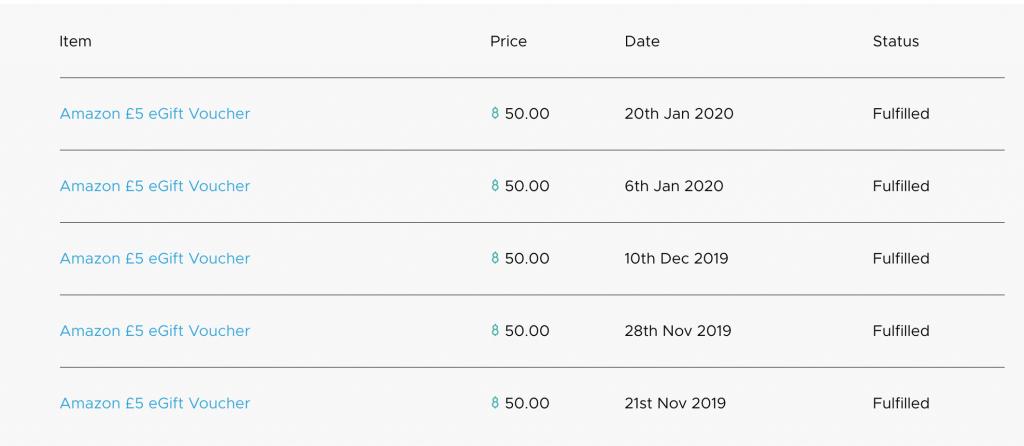 A list of Amazon vouchers claimed