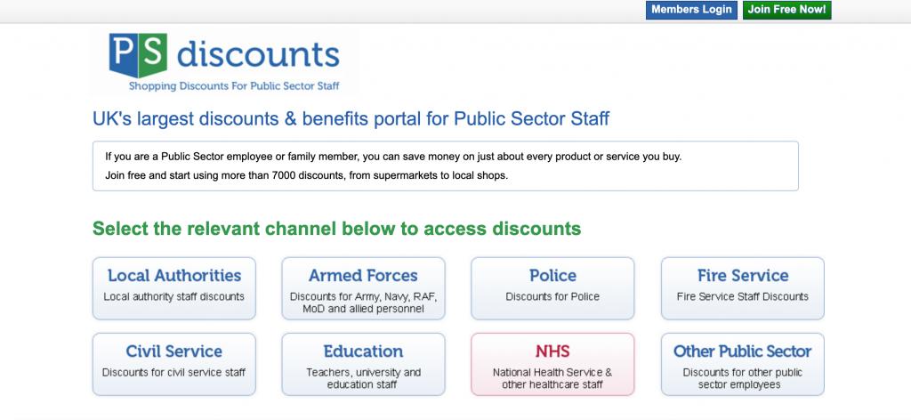 civil service - ps discounts