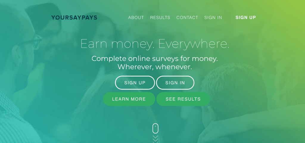 YourSayPays home page screenshot