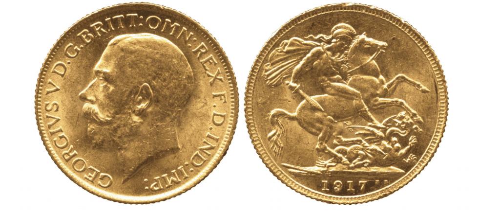 1917 George V Sovereign London mint