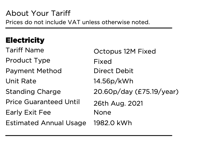 octopus electricity tariff