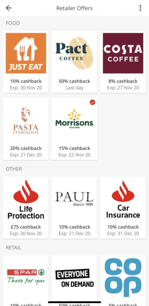 selection of retailer offers from santander