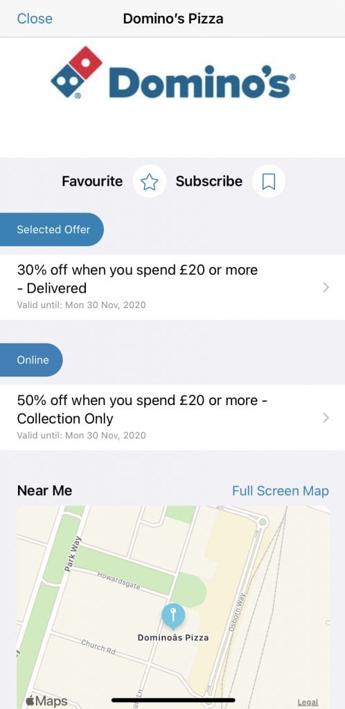 dominos discounts with Blue Light Card