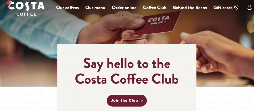 costa club rewards homescreen