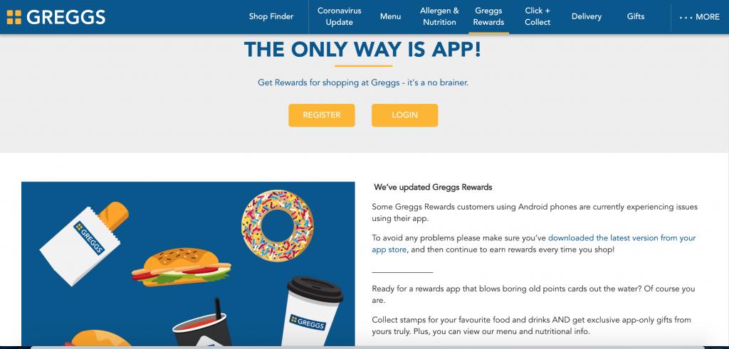 greggs rewards home page