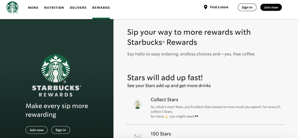 starbucks rewards homescreen